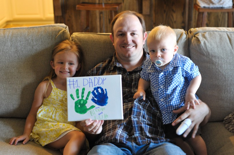 Their hand prints for Daddy. Luke messed his up some.
