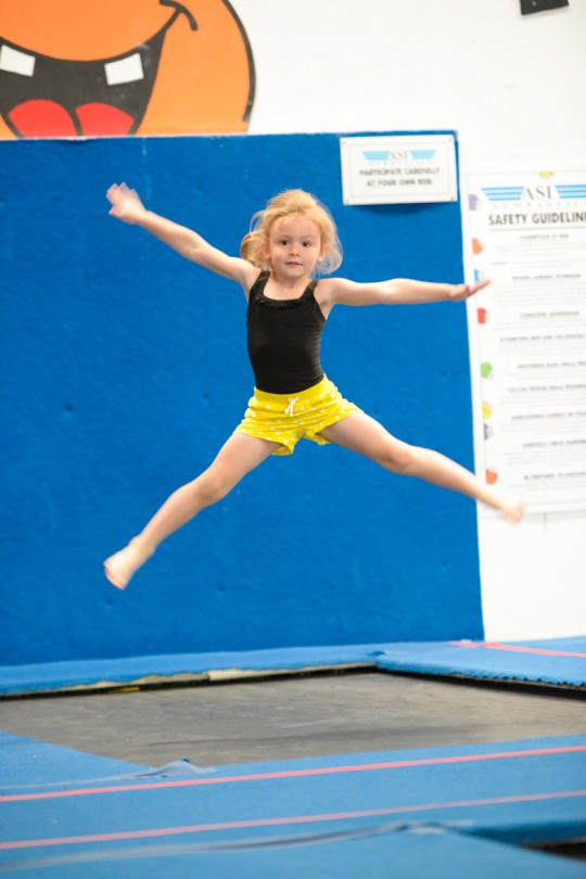 Straddle Jump on the trampoline!
