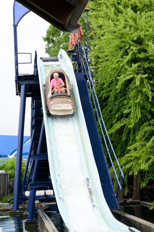 Nana and Brooke riding the Log Flume Ride!