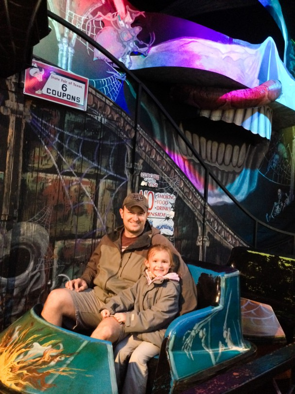 Riding the haunted house ride together!