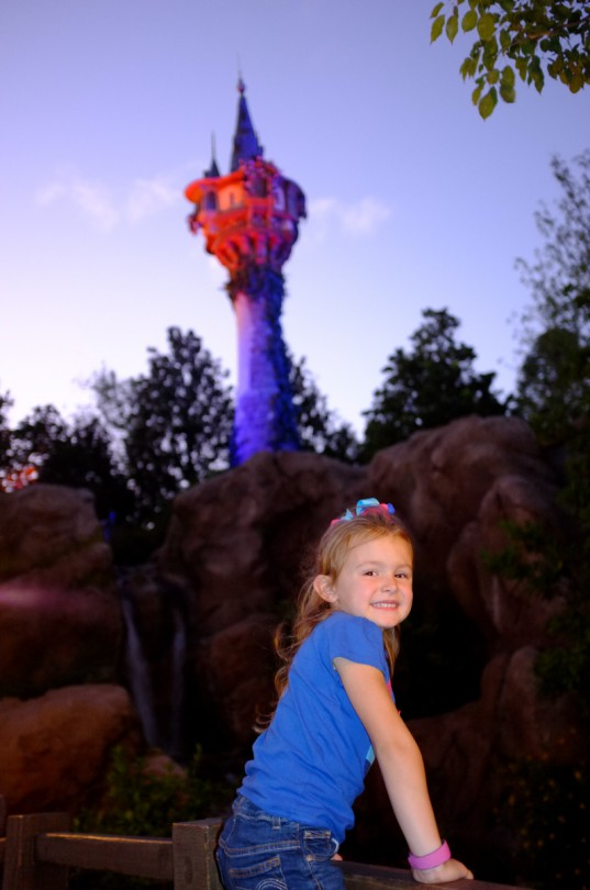 Brooke in front of Rapunzel's tower!
