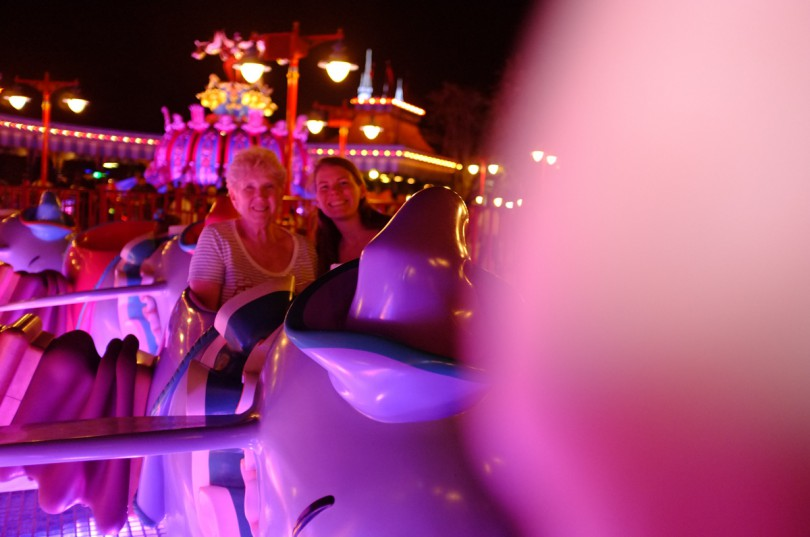 Nana and I riding Dumbo together! Brooke wanted to ride by herself!