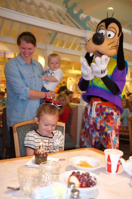 Goofy participating while we sing Happy Birthday to Brooke!
