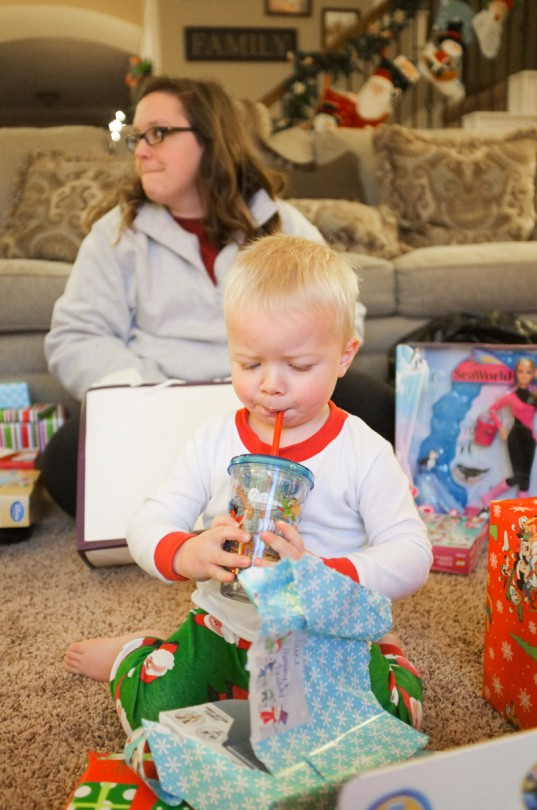 Trying out the cup he got for Christmas!