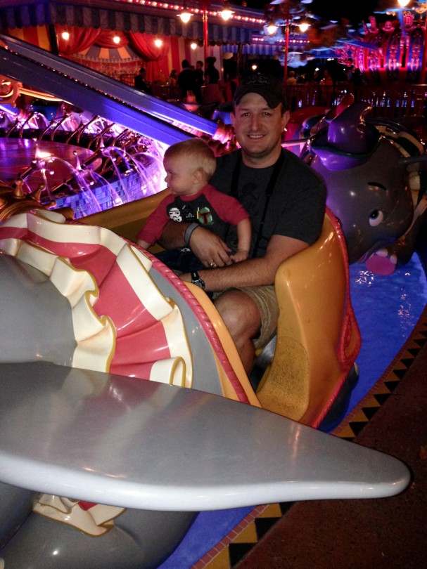 Luke and Daddy riding Dumbo!