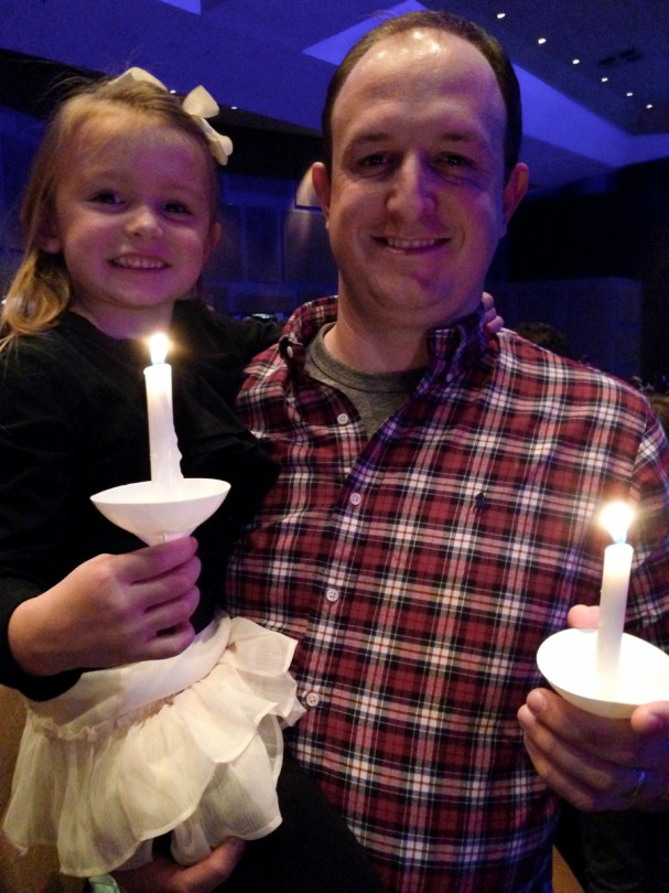 Brooke and Daddy with their candles!