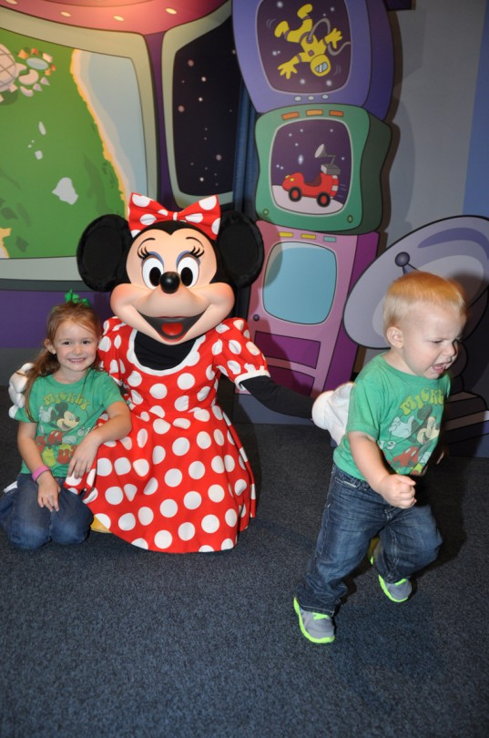 Luke had enough of Minnie and ran away! This picture cracks me up!