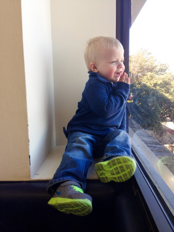 Waiting for Brooke's test to come back. He found himself a window seat!