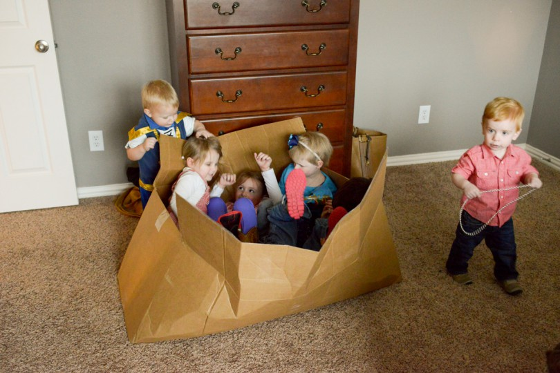 The box was a hit! There are 5 kids in that box!