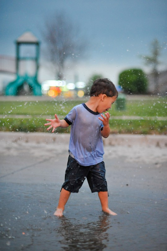 Beau getting splashed! I love his face in this picture!