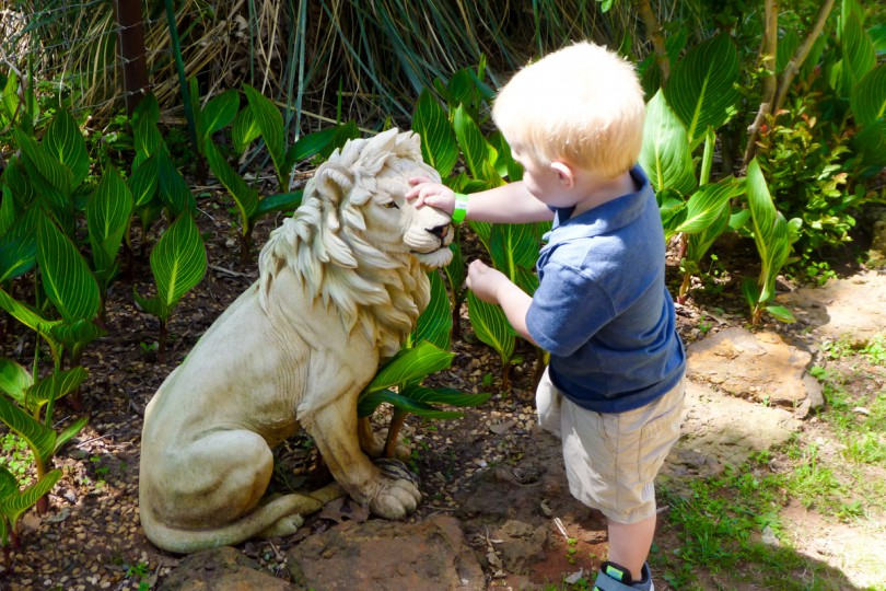 Luke liked the statues because he could touch them. He wanted to pet a Tiger so bad!